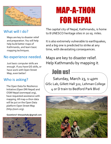 This Saturday, Join us for a Map-A-Thon for Nepal.