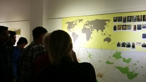 Visitors looking at the map of sculpture theft.