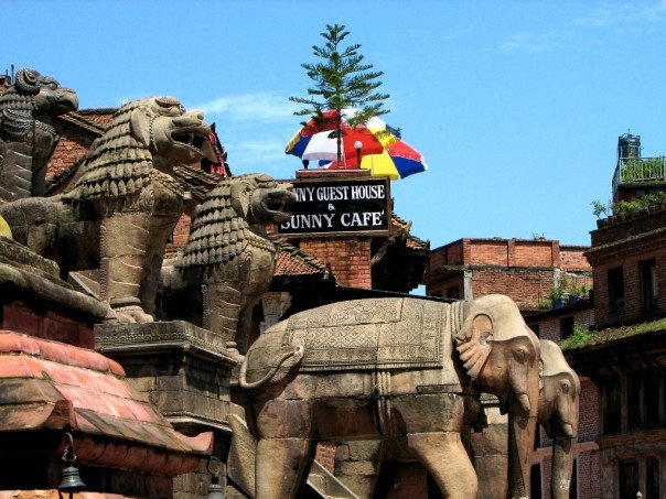 Stone animals and a cafe in Bhaktapur, Nepal.