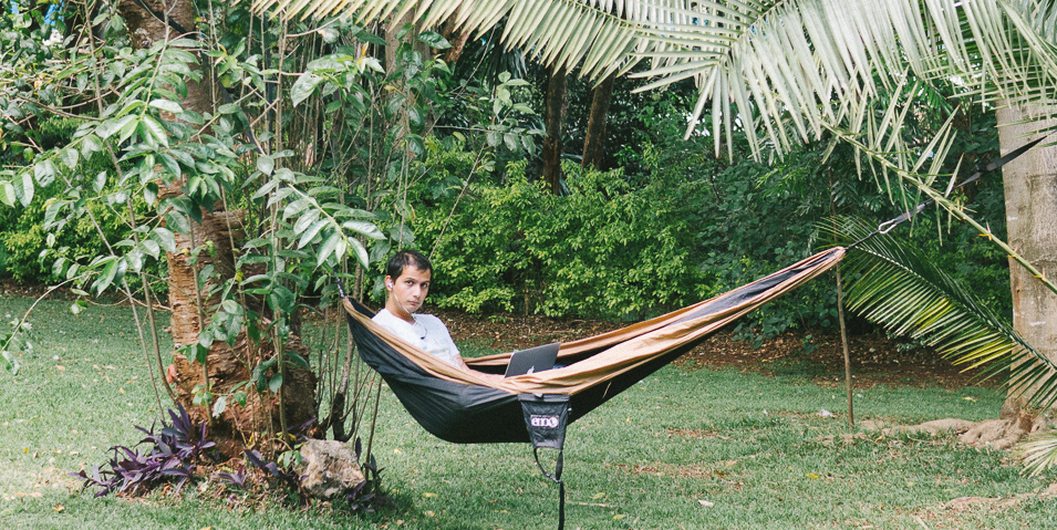 Working from a hammock in Kenya.