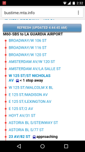 Screenshot of the bustime application I used to use to figure out when to get on the bus. The data collection needs for this app are intense, but just to show an example...